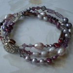 Purple and Grey Three-Strand Bracelet